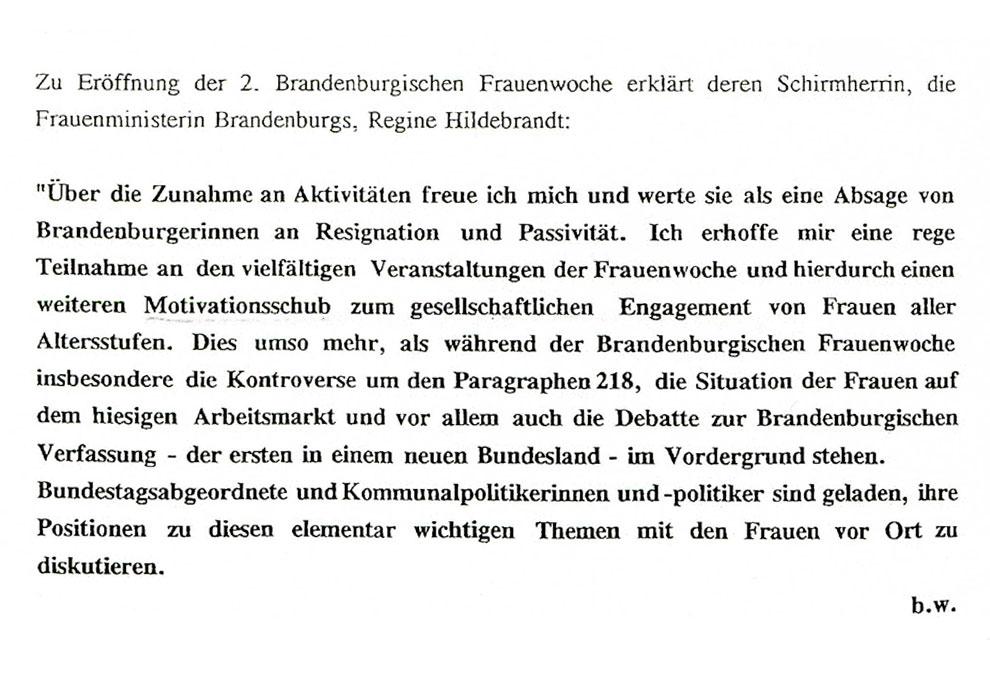 Zitat Regine Hildebrandt aus einer Presseerklärung