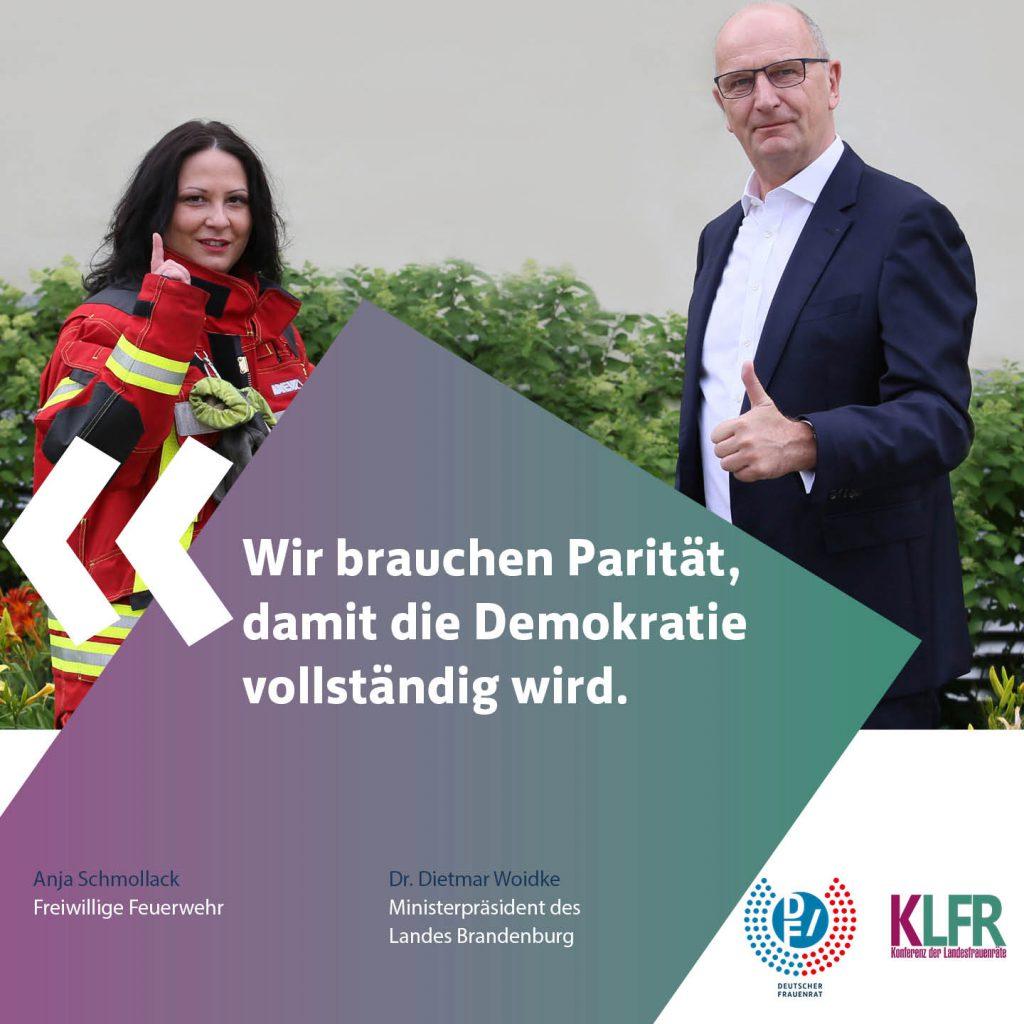 Ministerpräsident Dr. Woidke und Anja Schmollack (Freiwillige Feuerwehr)